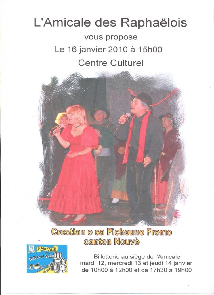 16 janvier 2010 à 15 heures au centre culturel
